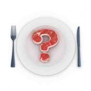Beef in Q mark in white plate